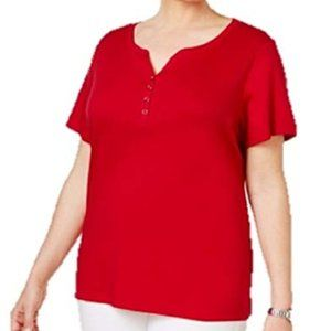 karen Scott Cotton Henley New Red Amore Size 3XL
